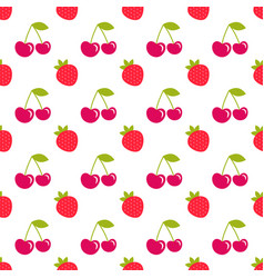 seamless pattern with strawberry and cherry vector image