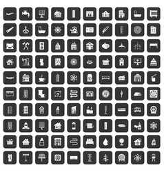 100 heating icons set black vector