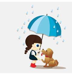 Girl and puppy during the rain vector