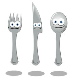 Funny fork knife and spoon vector