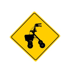 Rollator warning sign vector