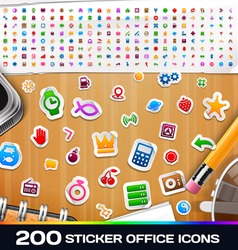 200 sticker universal icons set 2 vector