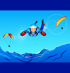 Sky-diving and paragliding vector
