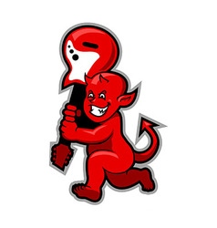 Red devil boy swingin guitar vector