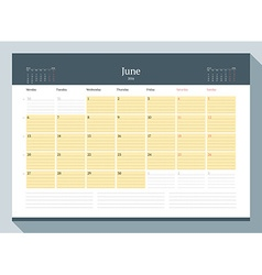 June 2016 monthly calendar planner for 2016 year vector