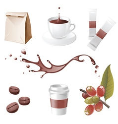 realistic coffee icons set vector image