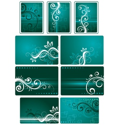 teal green background set vector image