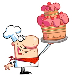 Chef holding up a masterpiece layered cake vector