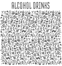 Set of various doodles cocktails and soft drinks vector