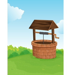 Well on a hill vector image