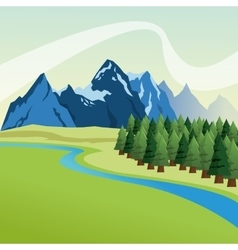 Landscape with pine trees and mountains design vector image