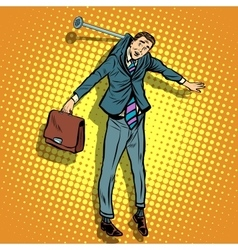 businessman hanging on the wall vector image vector image