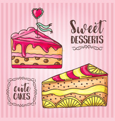 Cakes pastry and bakery background vector