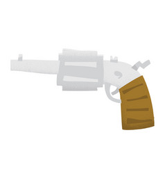 Cartoon style grunge revolver gun isolated vector