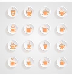 coffee Mug Icons button shadows set vector image