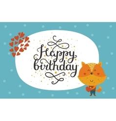Cute happy birthday animal card vector