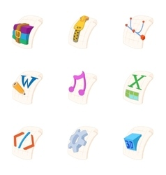 Document types icons set cartoon style vector