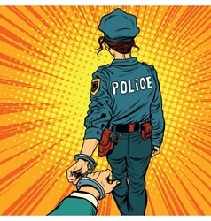 Follow me a woman police officer is arrested by vector