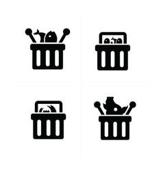 Fresh food shopping cart icon set vector