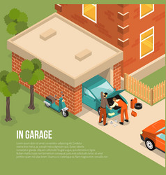 Garage outside isometric vector