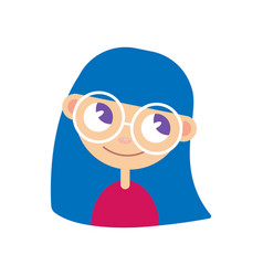 glasses girl is happy vector image