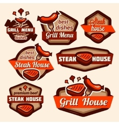 grill logos set vector image