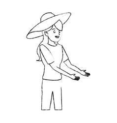 happy pretty woman with big sun hat icon imag vector image vector image