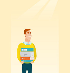 Man holding pile of books vector