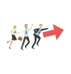 Managers Running In Pointed Direction Teamwork vector image