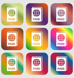 Passport icon sign nine buttons with bright vector
