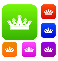 royal crown set color collection vector image