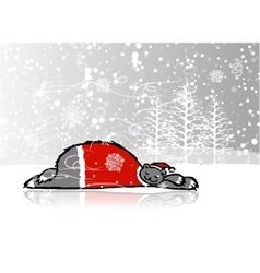Santa bear sleeping sketch for your design vector