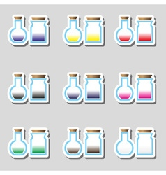 Science laboratory glass flask with various color vector