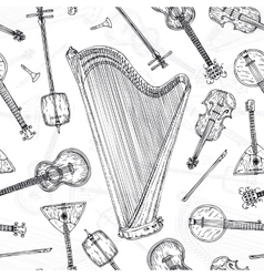 Seamless Pattern String Musical Instruments vector image vector image