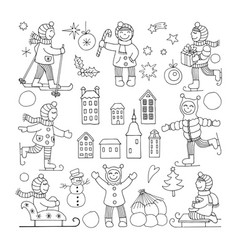 Set of different funny kids icons vector