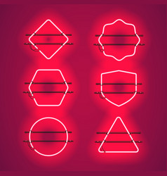 Set of realistic glowing red neon frames vector