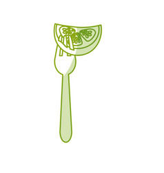 Silhouette fresh piece cucumber in the fork vector
