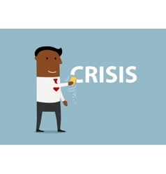 Smiling cartoon businessman erasing Crisis vector image vector image