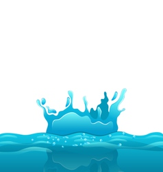 Splash and crown on rippled water surface vector image