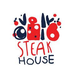 Steak house logo template vintage label colorful vector
