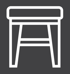 Stool line icon furniture and interior vector