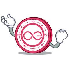 Successful aeternity coin character cartoon vector