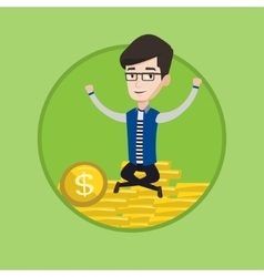 Successful businessman sitting on coins vector