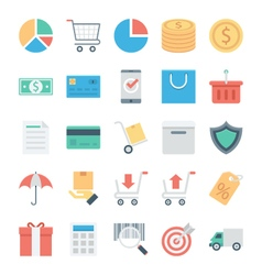 Shopping and e commerce colored icons 1 vector