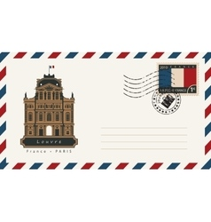Envelope with a postage stamp with louvre vector