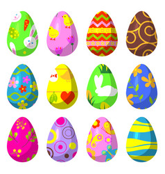 easter eggs painted with pattern vector image