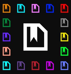 Bookmark icon sign lots of colorful symbols for vector