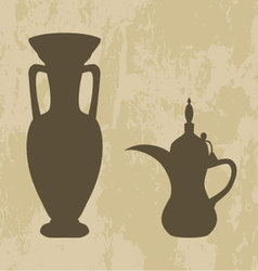Jug and coffee pot arabic vector