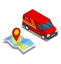 Delivery isometric 3d van car truck map cargo vector