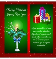 Two vertical cards with christmas decoration vector